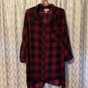 Red plaid sheer top